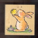 """Rubber Stamp Scrapbooking - Wood Mount - New - Penny Black - Bunny Rabbit & Chick 2.75X2.75"""""""