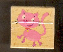 Rubber Stamp Scrapbooking - Wood Mount - New - Beise Stamps - Cartoon Cat 2X2""