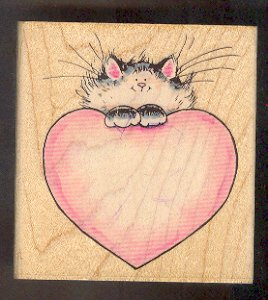 Rubber Stamp Scrapbooking - Wood Mount - Used - Penny Black - Cat with Heart 3.5 X 3.5""