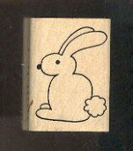 Rubber Stamp Scrapbooking - Wood Mount - Used - A Muse - Bunny Rabbit 1X1.5""