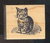Rubber Stamp Scrapbooking - Wood Mount - Used - Starlight Express - Kitten Cat 1.5X1.5""