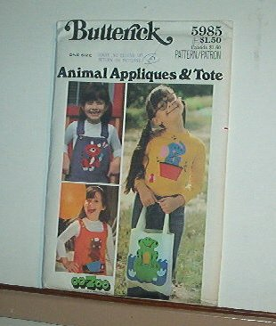 "Sewing Pattern Butterick 5985 Girl's tote and animal appliques (4 that are 8 X 9"") one size cute"