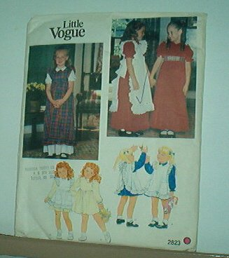 Sewing Pattern Little Vogue 2823 Party dresses and pinafores size 6 Lovely