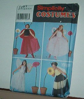 Sewing Pattern Simplicity 9981 Costume Four fairy princesses w/wings size 7-14 child