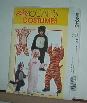 Sewing Pattern McCall's M4945 Child Costumes Tiger Bunny Racoon Giraffe Bear Sz 4-6