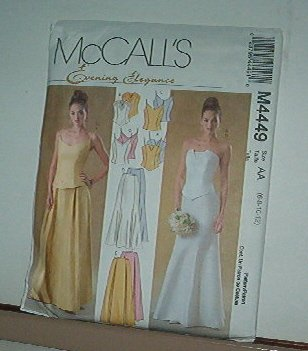 Sewing Pattern McCall's M4449 Formal Two Piece gown with variations sie 6-12