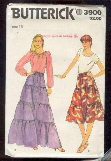 Sewing Pattern  Butterick 3900 Vintage Tiered skirt Size 16