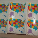 "Scrapbooking - Stickers - Six US maps - New 6X 4"" sheets -"