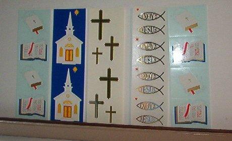 "Scrapbooking - Bible, Church, Cross - 2 X 6.5"" - New - Stickers"