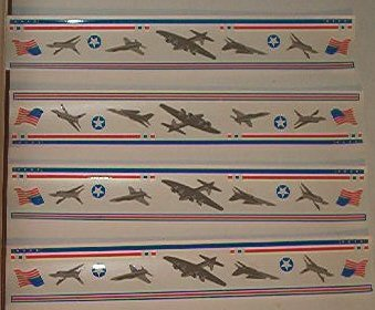 "Scrapbooking - Stickers - 4 US Air Force Airplane strips  - 2 X 12"" - New"