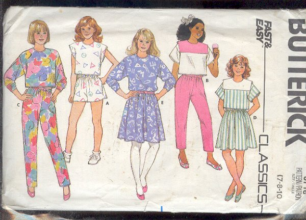 Sewing Pattern Butterick 3718 Girls Sports Gear Sizes 7 8 & 10 Easy