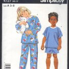 Simplicity Sewing  Pattern 4727 Pajamas Children short and long Size 3-8