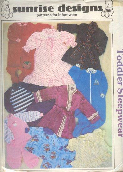 Sewing Pattern Sunrise Design Toddler Sleepwear Sizes 1T-4T