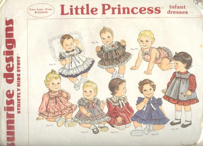Sewing Pattern Sunrise Little Princess Infant Dresses 3-12 mos + Preemie