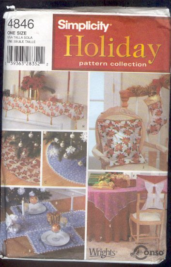Sewing Pattern Simplicity 4846 Holiday Decor Pilllows Tablecloths tree skirts