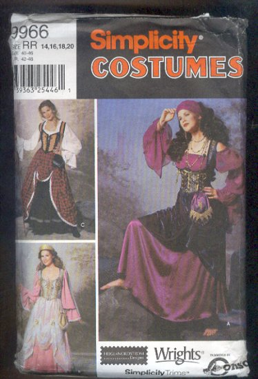 Sewing Pattern Simplicity 9966 Gypsy princess size 14-22 Nice