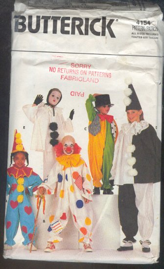 Sewing Pattern Butterick 4154 Variety of Clown costumes for children All sizes