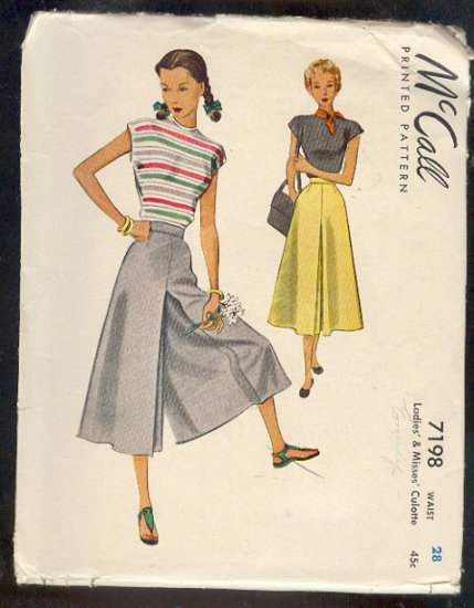Sewing Pattern McCall's Vintage 7198 Skort, Culottes Size Waist 28