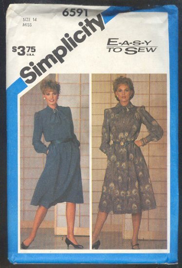 Sewing Pattern  Simplicity 6591 Stylish Shiftwaist Dress Size 14