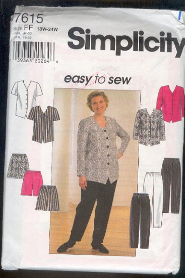 Sewing Pattern Simplicity 7615 Mix and Match Separates Sizes 18W-24W