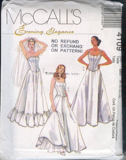 Sewing Pattern 4109 McCall's Wedding and Formal Gown Lingerie Sizes 8-14
