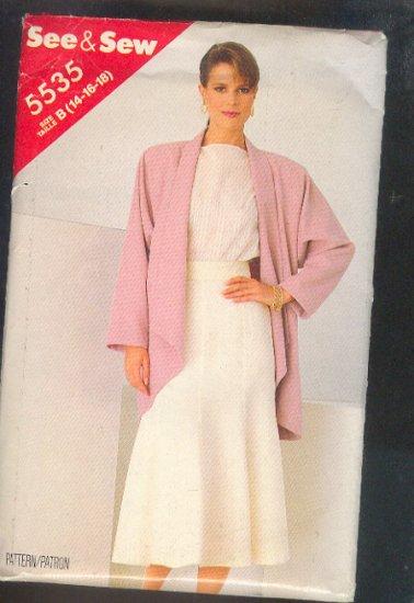 Sewing Pattern  Butterick 5535 Beautiful jacket & trumpet skirt Size 14-16