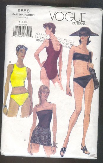 Sewing Pattern Vogue 9858 Swinsuits - 4 styles Size 6 - 10