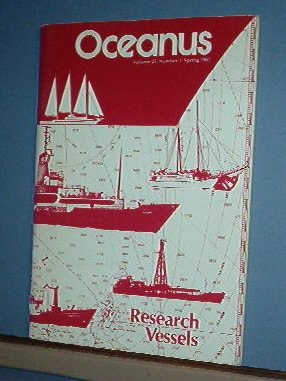 Magazine Ships Free in US  Vintage OCEANUS Oceanography Research Vessels Spring 1982 Vol 25 #1
