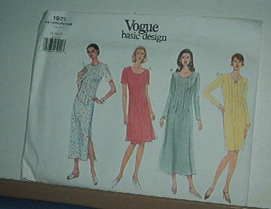 Vogue Sewing Pattern 1921 Dress with Front tucks  Size 14 - 18
