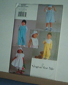 Sewing Pattern Vogue 9297 Overalls, bib, hat, dress jump suit Size 1-4