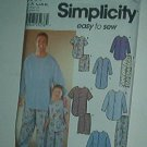 "Sewing Pattern Simplicity Mens  (chest 34 - 48"") Boys (22 - 27"" chest) Night Shirt & Jams"