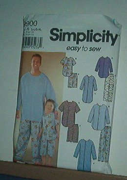 """Sewing Pattern Simplicity Mens  (chest 34 - 48"""") Boys (22 - 27"""" chest) Night Shirt & Jams"""