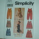 Sewing Pattern Simplicity Child 7213 Jumpsuit, romper and dress with variations size 2 3 4