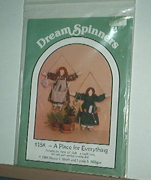 Sewing Pattern, Dream Spinners Hanging Dolls with pocket aprons for notions, tools, etc