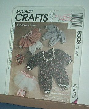 """Sewing Pattern McCall's 5339 Faye Wine Bunny Wraps, Rabbit clothes 25"""" 20"""" 14"""" Cute"""