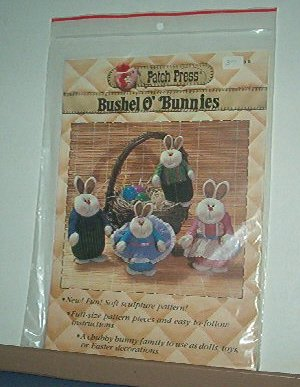 "Sewing Pattern Patch Press Bunny Family Soft Sculpture 12"" and 9"""