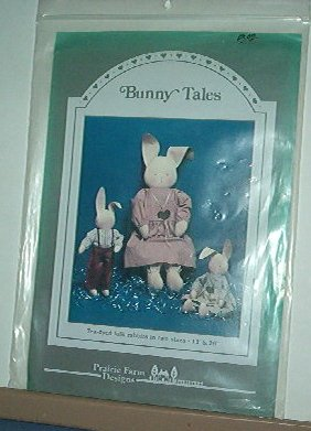 "Sewing Pattern Prairie Farm Designs, Bunny Tales. tea died folk rabbits 13"" 26"""