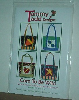 """Sewing Pattern Tammy Tadd Designs Corn to be Wild 12X12X5"""" Cute Tote"""