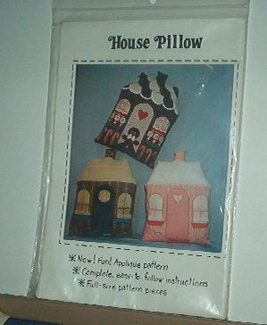 """Sewing Pattern House Pillow Applique included 16X 18"""" Cute"""