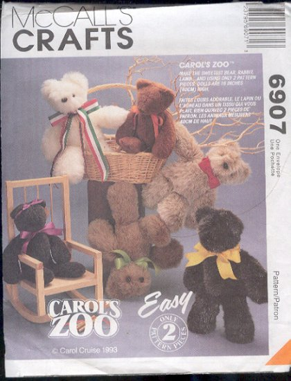 McCall's Sewing Pattern 6907 Bears and Bunnies, 16""
