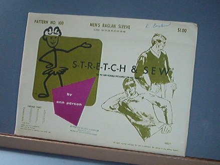 Stretch & Sew Sewing Pattern 100 Men's Raglan Sleeve Size 34 - 48