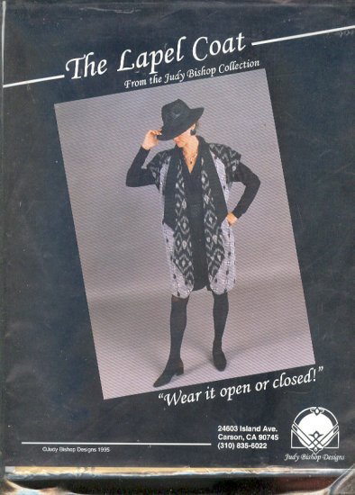 Sewing Pattern Judy Bishop Designs  THE LAPEL COAT Sizes XML thru XXL
