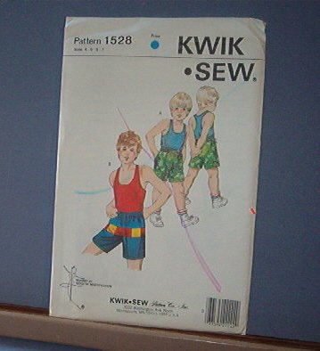 Kwik Sew Sewing Pattern 1528 Boy's Tank Top and Shorts Sizes 4 - 7
