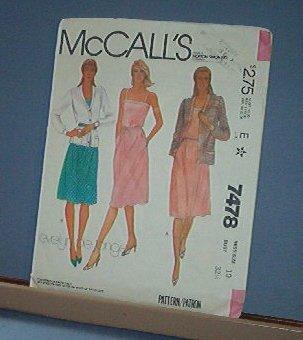 Sewing Pattern McCall's 7478 Summer Dress & Jacket Size 10