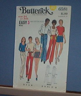 Butterick Sewing Pattern Butterick 6581 Pants and Shorts for Men and Women Size Waise 24""