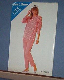 Butterick Sewing Pattern Butterick 5704 Topo and Pants Sizes Petite, Small & Medium