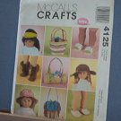 "Sewing Pattern, McCall's 4125 American Girl 18"" Doll Accessories Shoes and Bags Cute"