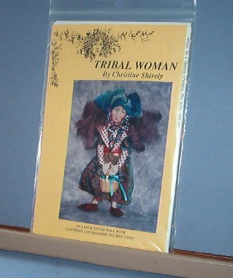 "Sewing Pattern 8"" Tribal Woman Doll by Christine Shively w clothing and beading design"