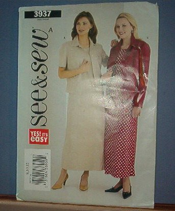 Sewing Pattern Butterick 3937 Dress with jacket Size 8 -12 Pretty