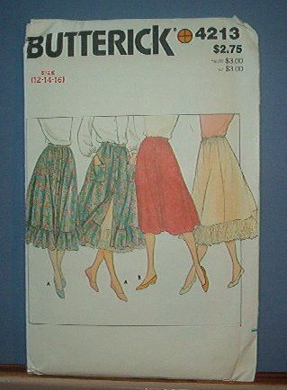 Sewing Pattern Butterick 4213 Skirt and Petticoat - full style  - Size 12-16